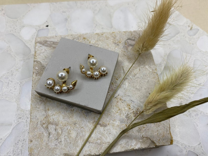 Bridal Bridesmaids Accessories Front Back Style Pearl Anchor Studs Pearl Earrings Elegant Pearls Ear Jacket Gold and Pearl Earrings