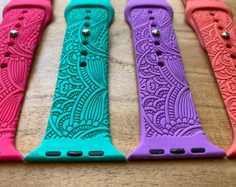 Henna (Tropical Colors) Watch Band, Henna Engraved Watch Band, Silicone, Compatible with Apple Watch Series 6,5,4,3,2,1