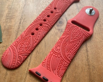 Henna Watch Band   Custom Engraved Watch Band   Silicone Watch Band   Compatible with Apple Series 6,5,4,3,2,1   38mm 40mm 42mm 44mm