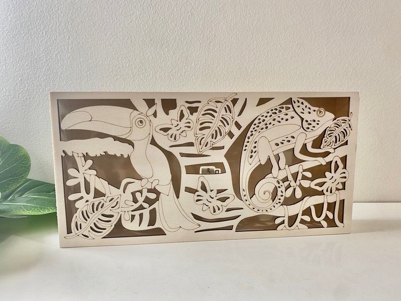 Home Decor Wood Light Box Laser cut wood paint kit Gifts for Kids Toucan and Chameleon Wooden LED Box