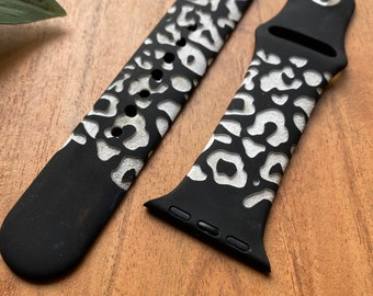 Cheetah Ink Watch Band   Custom Engraved Watch Band   Silicone Watch Band   For Smart Watch Series 6,5,4,3,2,1   38mm 40mm 42mm 44mm