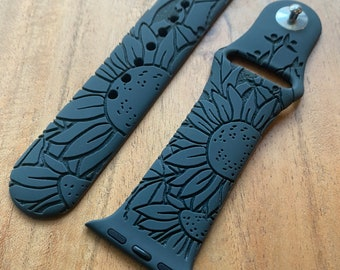 Sunflower Watch Band   Engraved Watch Band   Silicone Watch Band   Compatible with Apple Watch Band Series 6,5,4,3,2,1   38mm 40mm 42mm 44mm