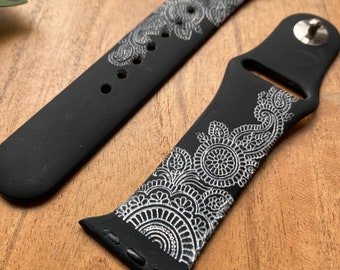 Henna Paisley Ink Watch Band   Engraved Watch Band   Silicone Band   Compatible with Apple Watch Series 6,5,4,3,2,1   38mm 40mm 42mm 44mm