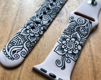 Flower Paisley Watch Band   Engraved Watch Band   Silicone Watch Band   Compatible with Apple Series 6,5,4,3,2,1   38mm 40mm 42mm 44mm