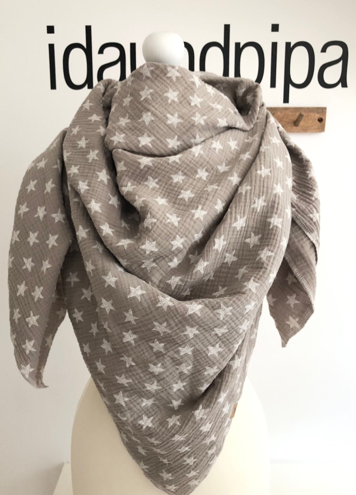 xxlmusselintuch sterne taupe  etsy