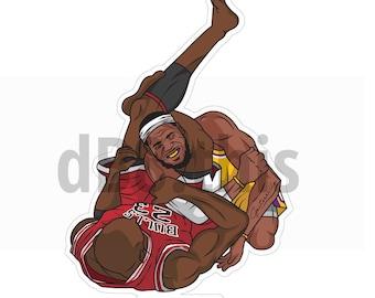 dB8.this | Jordan vs Lebron BJJ sticker decal | UFC | NBA Basketball | bumper laptop sticker | Lebron James | Bulls | Gift for Him | Michael
