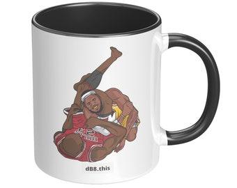 dB8.this | Jordan vs Lebron BJJ ceramic mug | colored accent 11oz | Lebron James | NBA Basketball | MMA | glossy | Greatest of All Time