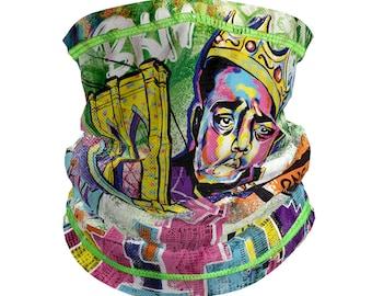 Neck gaiter drawstring adjustable | mesh face mask/bandana/balaclava | men/women | Brooklyn graffiti art | breathable | cooling | quick dry