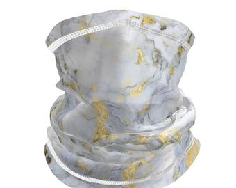 Neck gaiter drawstring adjustable | mesh face mask/bandana/balaclava | men/women | Marble print design | breathable | filter pocket