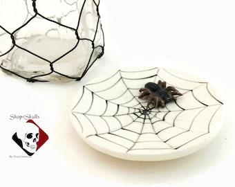 Round Ceramic Tea Bag Holder Spider Cobweb Design with Small Tarantula Spider Haunted Halloween Fun Decoration by Texas Ceramics