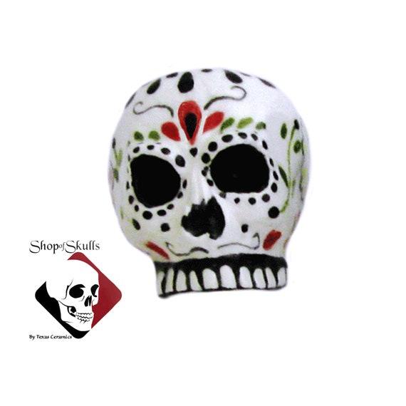 White Stone Skull Earrings folkloric Mexican heart Wedding Dia De Muertos NEW
