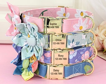 Personalize Dog Collar For Girl, Floral Dog Flower Bow Collar, Girl Dog Collar Large, Dog Collar With Name, Pet Collar For Girl, Fabric Bow
