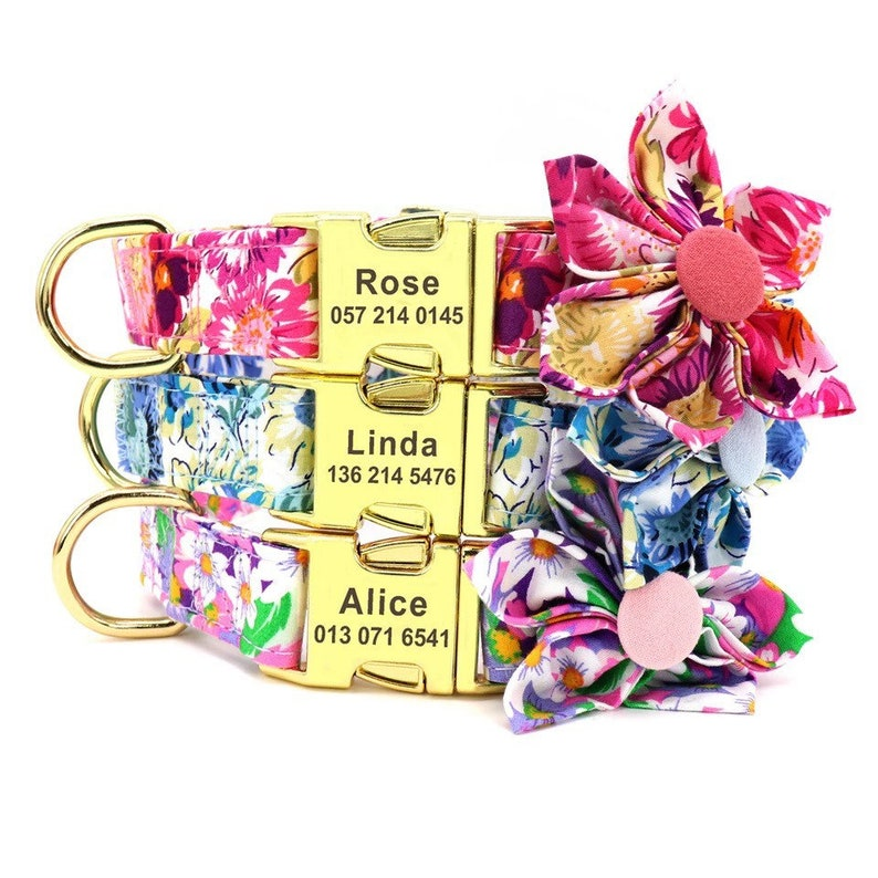 Personalized Dog Collar floral collar for dogs Female Dog image 0