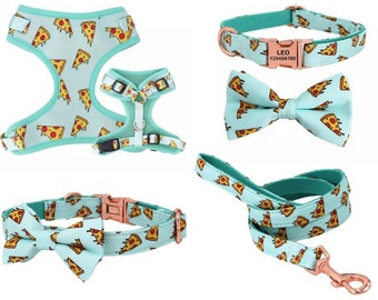 Personalized Dog Harness Set, XS Dog Collar & Leash, No Pull Harness Vest, Boy Dog Collar Bowtie, Harness For Puppy, Harness for Dogs Boy