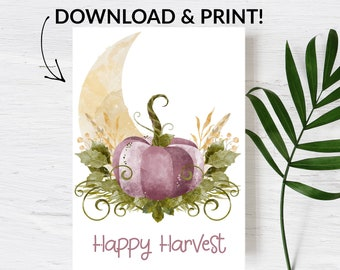 Printable Card   Happy Harvest   Fall Stationary   Thanksgiving Card   Pumpkin Fall Floral Stationary Muted Fall Colors   Note card