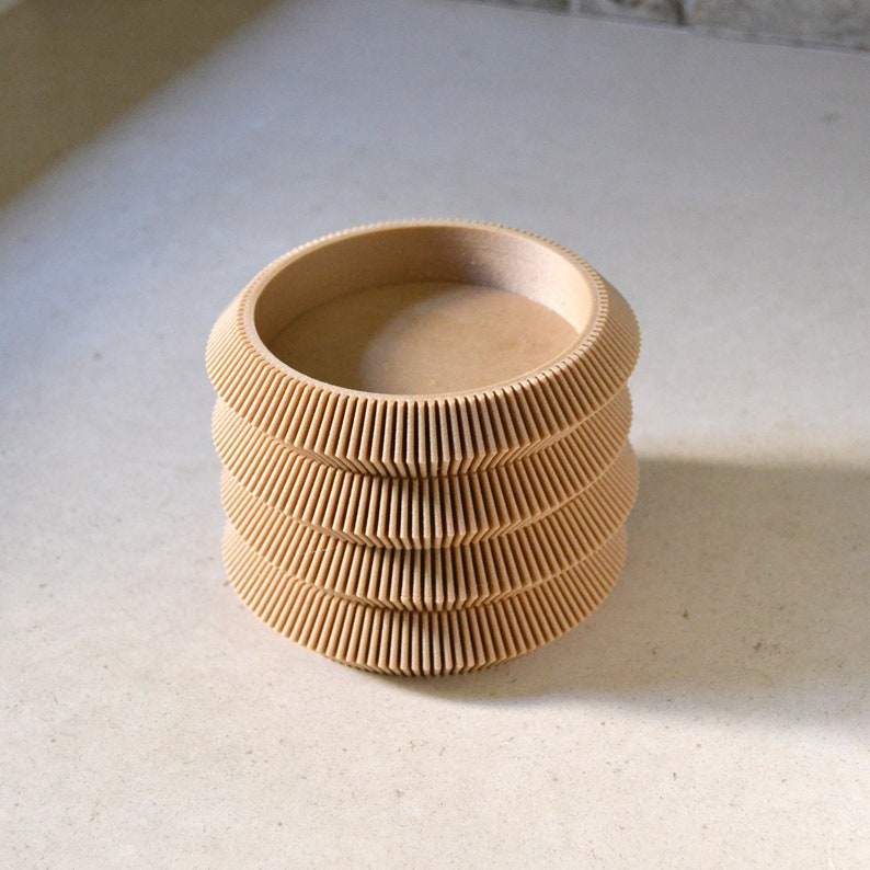 PAGODA\u201d Set of 4 Stacking Wood Coasters