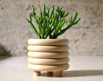 """Wood """"COILED"""" Mid Century Indoor Planter"""