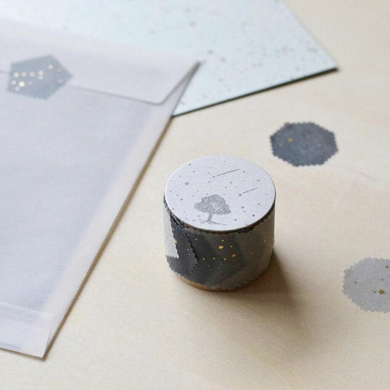 Constellation of Animals Washi Tape Seals 60 pcs Gray Tones by knoten letterpress x Rokushosha Celestial Foil washi stickers
