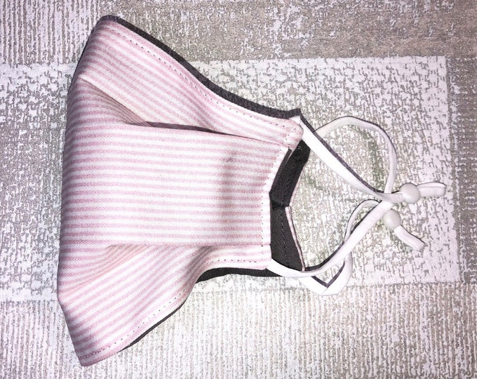 Pink Stripe~ High Quality Cotton Face Masks*Washable & Reusable