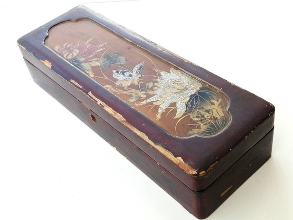 Vintage Glove Box, Hand-Painted Laquered Box, Vint