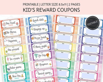 Editable Reward Coupons, Printable Reward Tickets, For Boys and Girls, Pre-Filled Rewards, Blank Editable Template, A4, Us Letter.