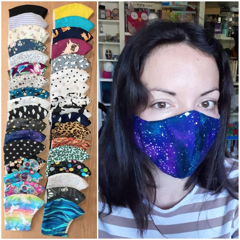 Shaped reusable face mask filter pocket & removable nose image 0
