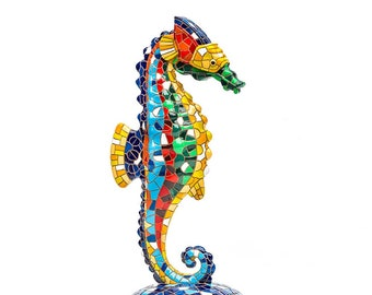 Mother/'s Day Gift for Her Mother/'s Day Gift Stained Glass Mosaic Seahorse Blue Stained Glass Coastal Decor Seahorse Ornament