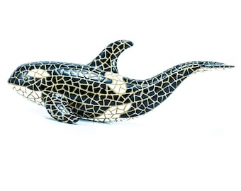 Blue Whale Decorative Sculpture Size 8 Inches Barcino Hand Painted Design