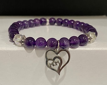 "Amethyst & Angel Aura Quartz Bracelet with ""Mom"" Double Heart Charm (6mm Beads)"