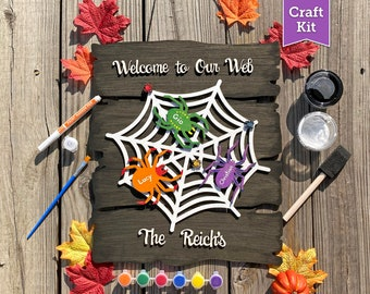 DIY Halloween Door Hanger Craft Kit for Kids, Adults, Families –Fall Unfinished Wood Decor ArtWith Paint –Spider Web Sign w/ Family Name