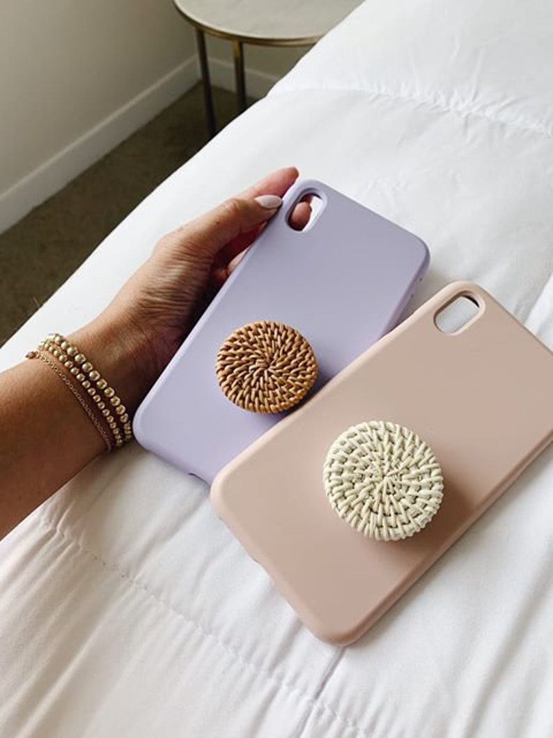 HIGH QUALITY Boho Rattan Phone Grip  3 Size Options image 0