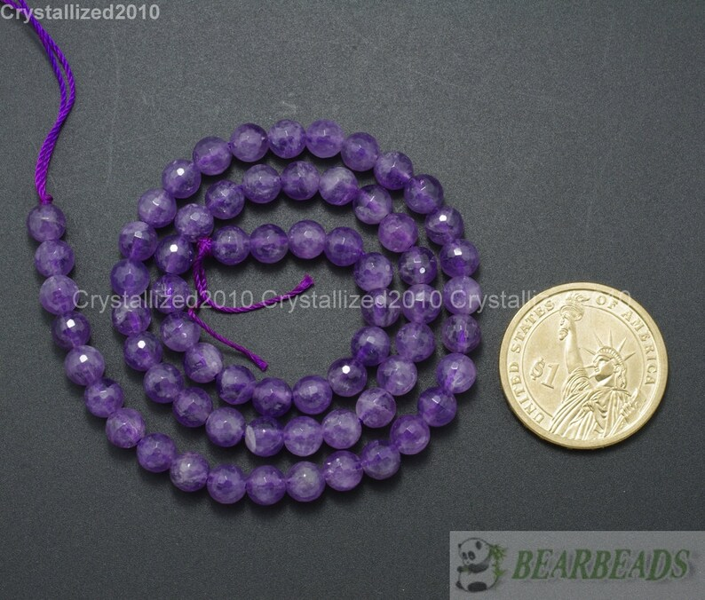 Faceted Grade A Natural Amethyst Gemstone Loose Spacer Round Ball Beads 2mm 3mm 4mm 6mm 8mm 10mm 12mm 16