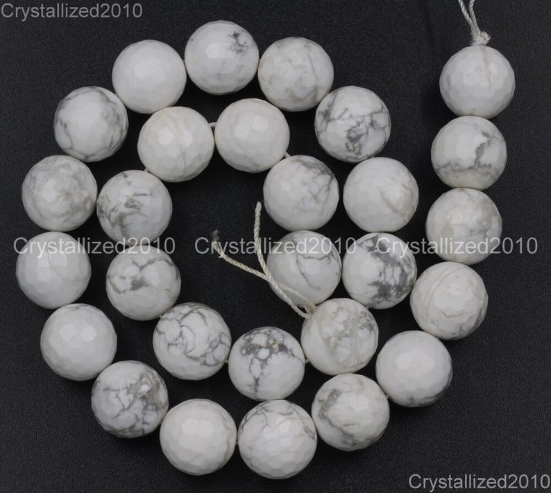 Faceted Natural White Turquoise Gemstones Round Ball Spacer Beads 2mm 3mm 4mm 6mm 8mm 10mm 12mm 14mm 15.5