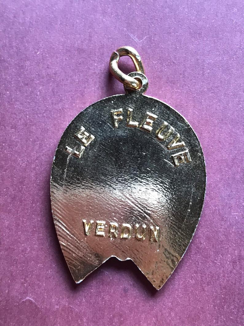 Vintage French equestrian horseshoe astrological sign virgo good luck golden medal Antique Souvenir France pendant