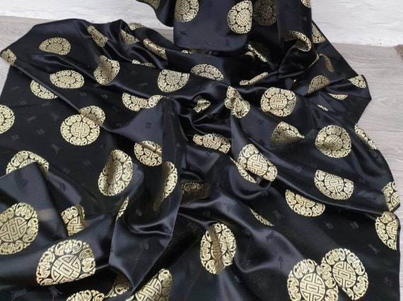 """1 METER BLACK//MULTI COLOURED FLORAL DESIGN SOFT CHINESE BROCADE FABRIC  58/"""" WIDE"""