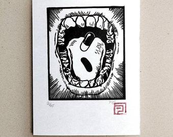 Akira Capsule. Linocut printed by hand