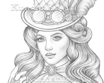 Steampunk Coloring Etsy