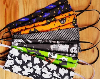 Halloween and spooky Face masks, 3-layered, handmade, with filter, cotton, reusable, protective,  washable,  reversible.