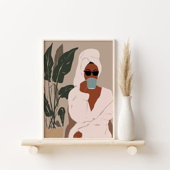 Black Girl Long Hair Modern Mid Century Art Boho Woman Art African American Art Black Girl Illustration Black Woman Art Black Girl Art