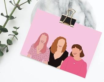 Custom Portrait Illustration Print  [Personalised Family, Sister, Couples Portrait Print]