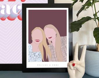 Custom Couples Portrait Illustration Wall Art