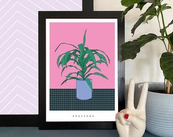 House Plant Illustration Print Wall Art