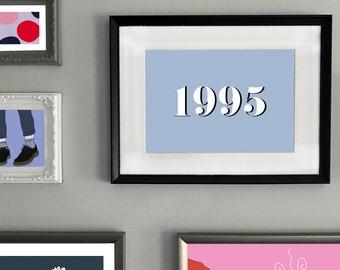 Custom Year Typographic Print | Year Typographic print | Typographic Print