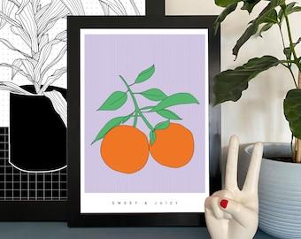 Juice Orange Illustration Print Wall Art