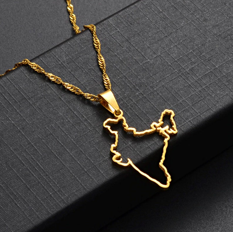 18K gold-plated India map necklace  charmed jewelry gift  India flag gold necklace for Men and Women