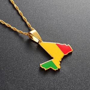 18K gold-plated Angola flag map pendant necklace  charmed jewelry gift  Angola flag gold necklace for Men and Women