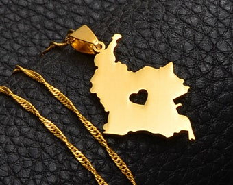 18K gold-plated Colombia map with heart pendant necklace / charmed jewelry gift / Colombia flag gold necklace for Men and Women