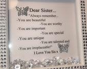 gorgeous sister personalised keepsake frame