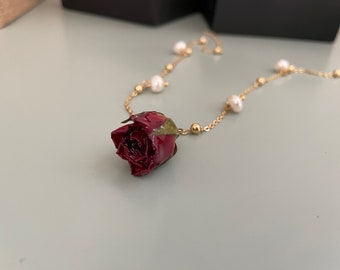 Handmade Rose Bud Necklace, Real Rose Necklace, Nature Inspired Jewelry, DIY Pendant Necklace, Pearl Necklace, Flower Necklace