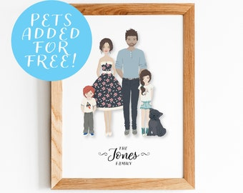 Personalised Family Portrait Illustration | Custom Family Portrait From Photo, Ideal Wedding or Birthday Gift